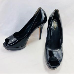 Cole Haan Peep Toe Patent Leather Pumps